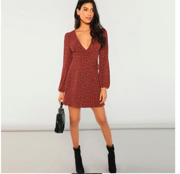 SHEIN Rust-Red Coloured Leopard Print Plunge Wrap Dress Size M-L (small fit)