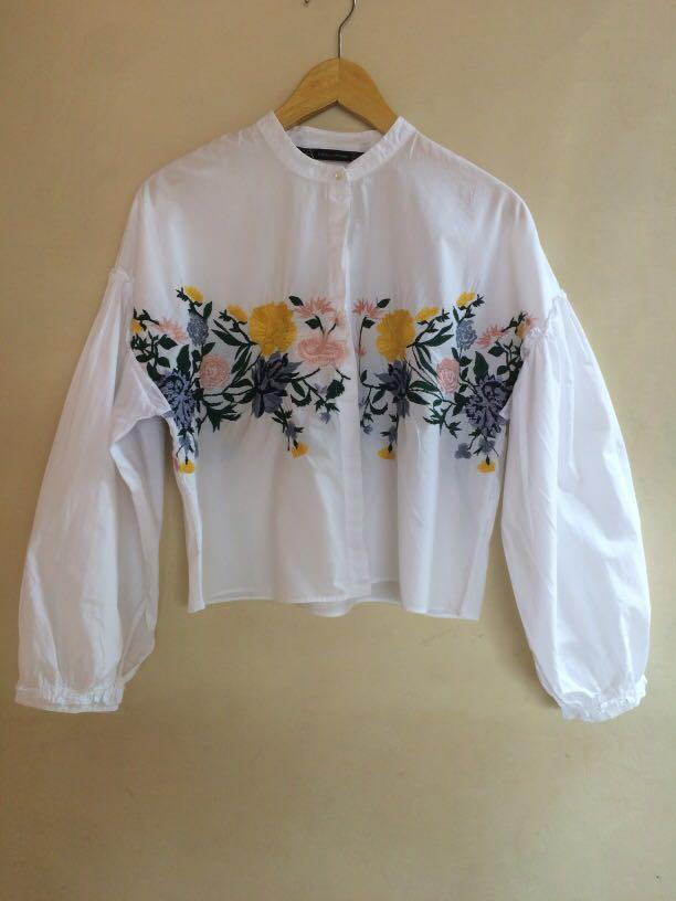 Zara Embroidered white Top
