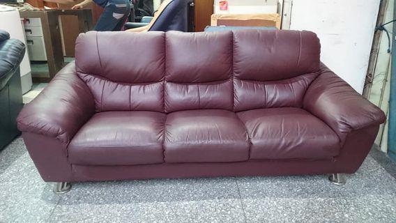 【健利傢俱行】三人沙發 真皮 二手三人沙發