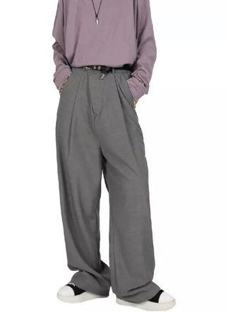 韓國復古純色直筒西裝褲