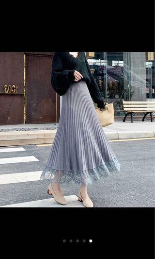 針織蕾絲長裙
