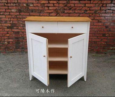 【可陽木作】原木雙抽屜邊框雙門櫃 / 玄關櫃 / 收納櫃 / 衣櫃 鞋櫃 櫥櫃