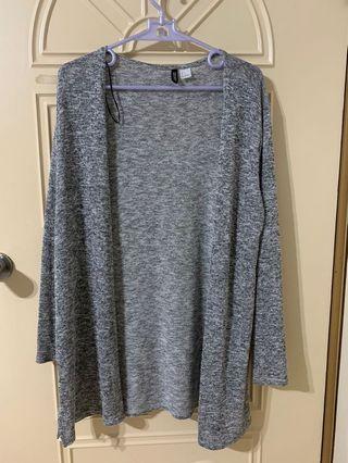 H&M灰色薄針織外套