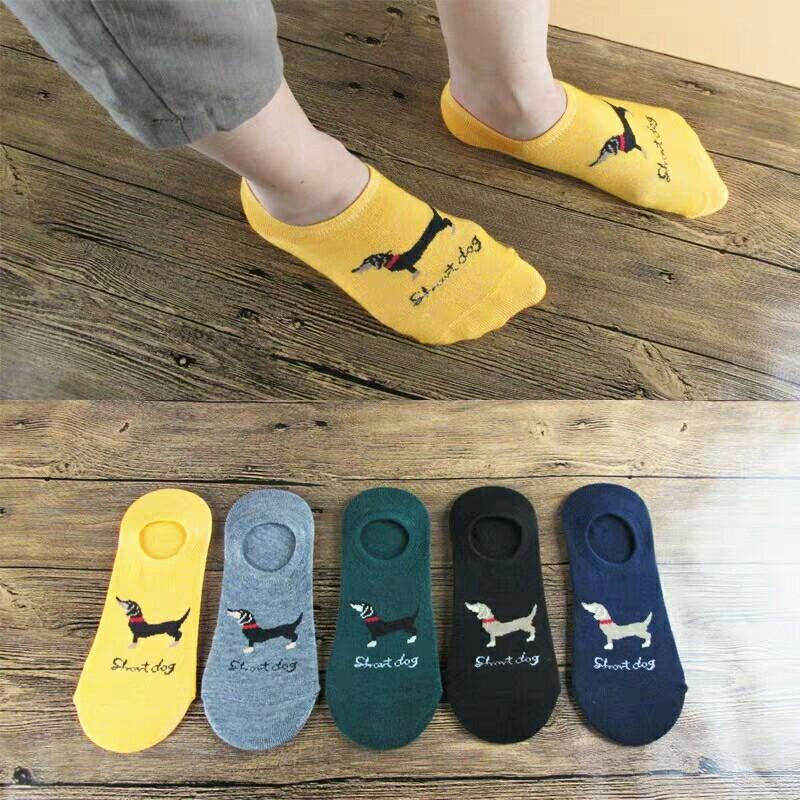 5 Pair Dachshund Dog No Show Socks Men Low Cut Non-Slip Invisible Casual Loafer Boat Socks