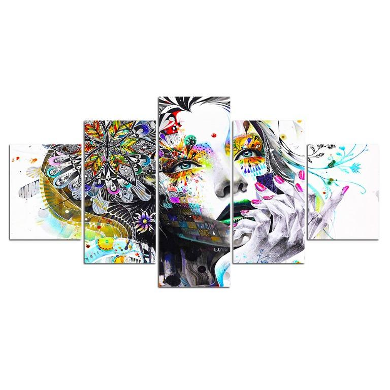 5 Panel Abstract Flower Girl with Sunflower Canvas Art😊