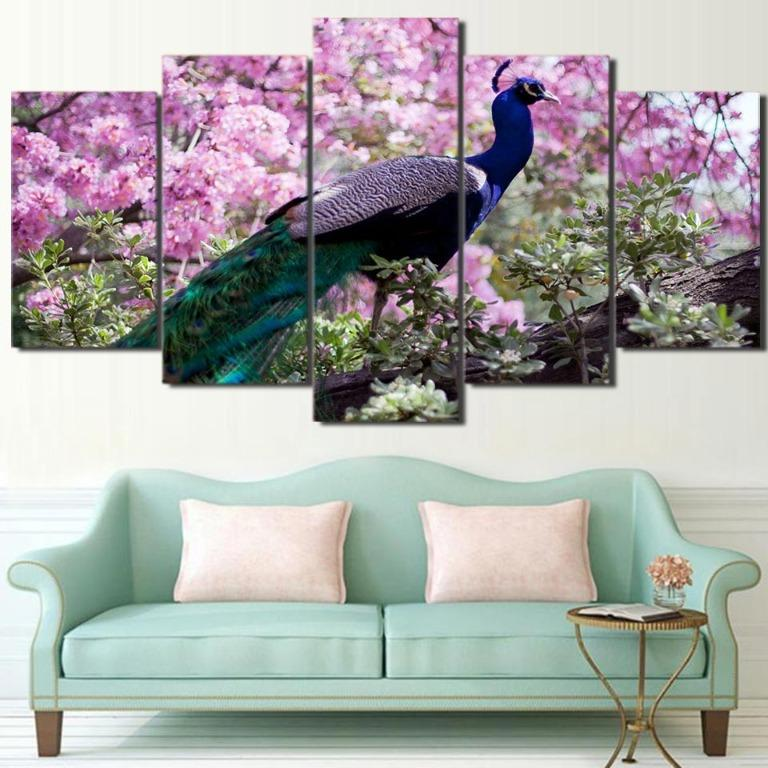 5 Panel Peacock with Beautiful Flowers Canvas Art😊