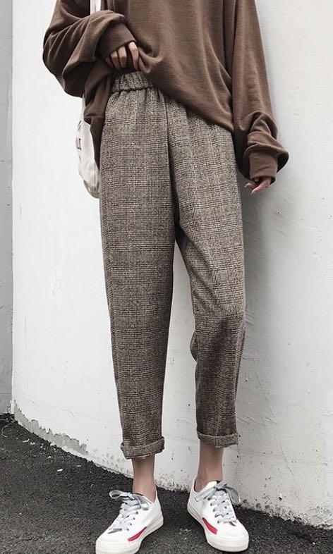 全新含吊牌咖啡格紋褲#出清2019