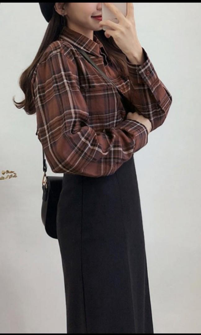 格子格紋長袖襯衫打底衫寬鬆上衣