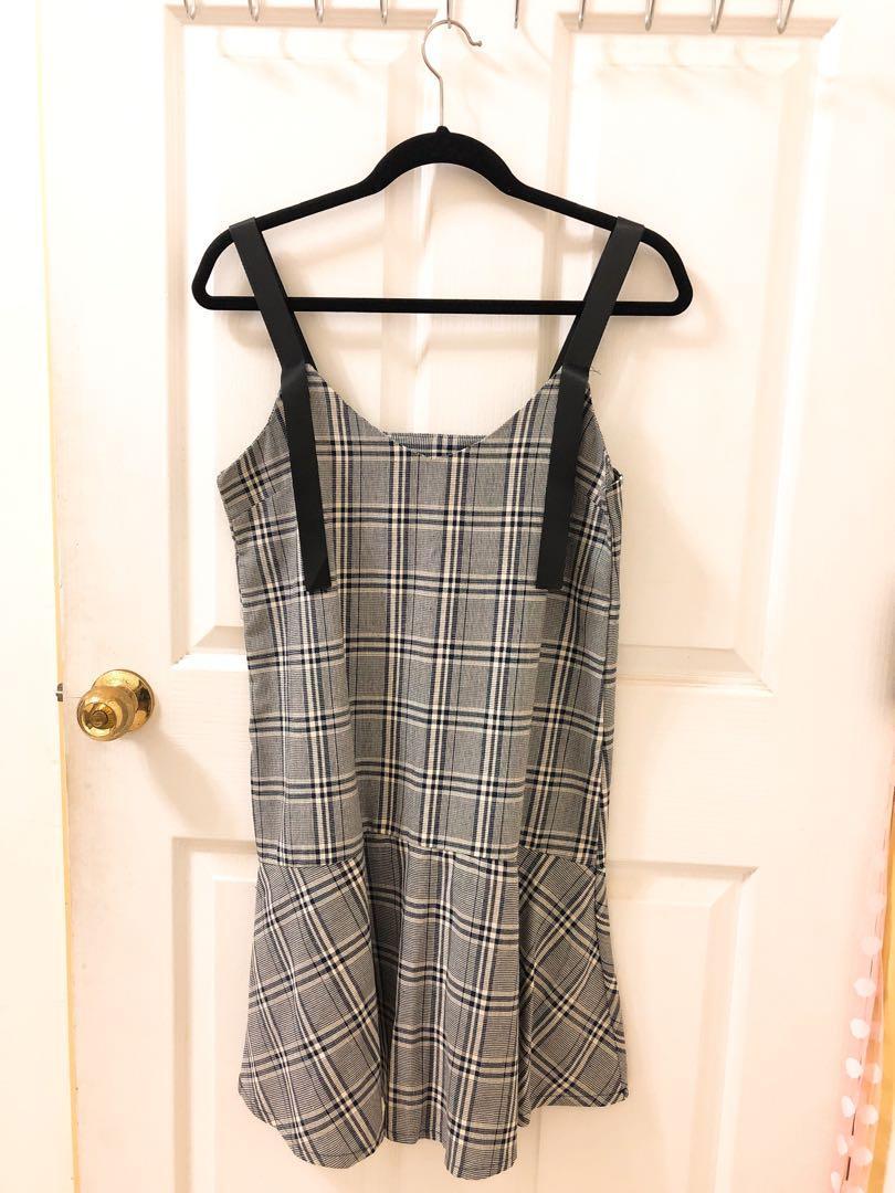 格紋 裙子 洋裝