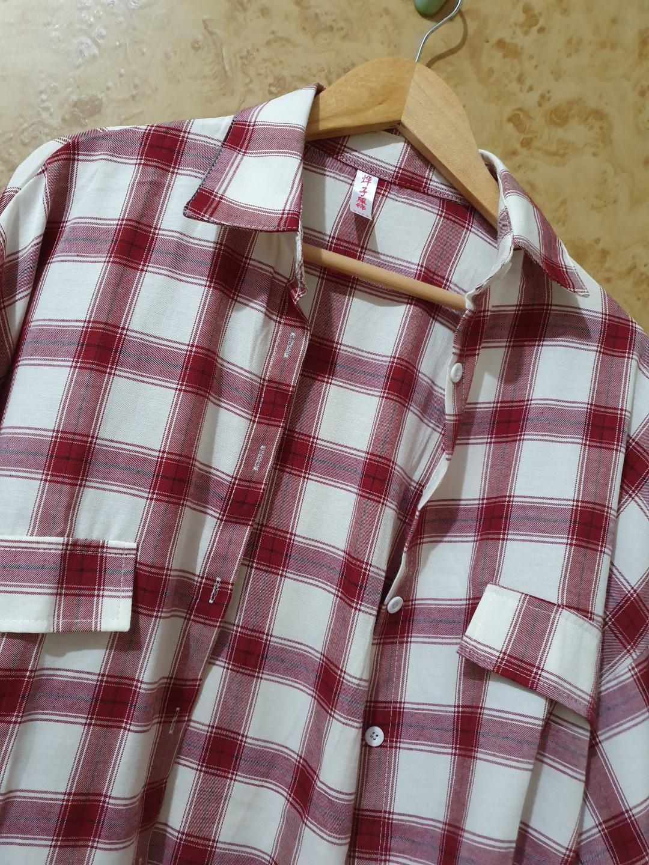 落肩寬袖格紋襯衫 薄外套 泡泡袖襯衫