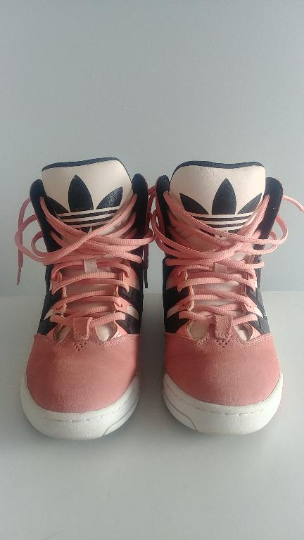 Adidas Sneakers High Top Women's Size 6.5 Pink White Black