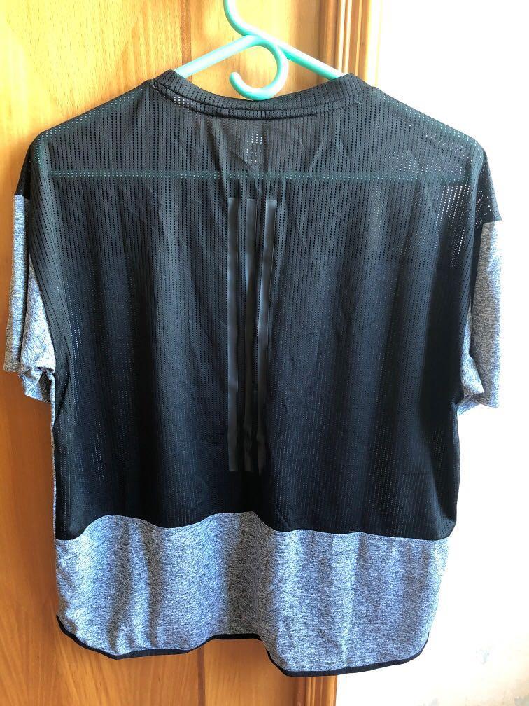 Adidas運動衫黑色拼灰色M