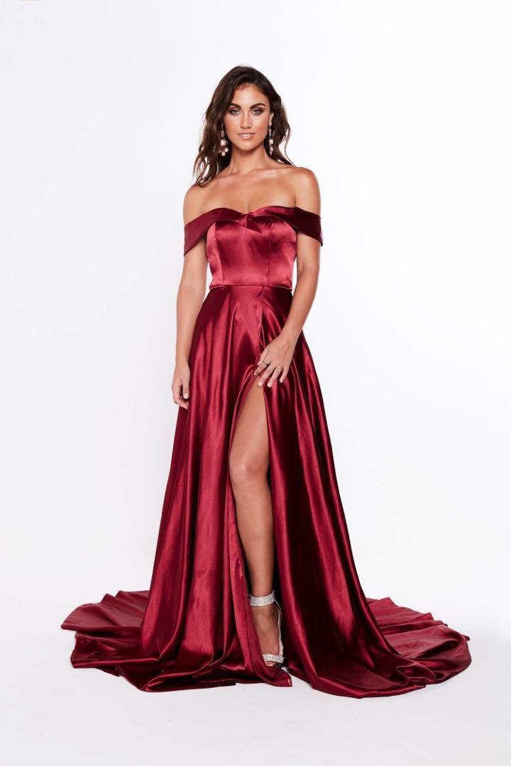 A&N Luxe Luciana Satin Gown - Burgundy Formal Maxi Dress RENT ONLY