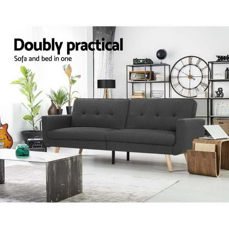 Artiss Sofa Bed Lounge Set Couch Futon 3 Seater Fabric Reliner 197cm Dark Grey