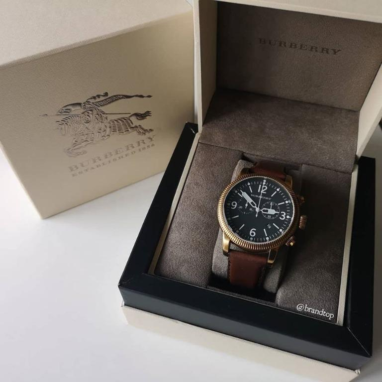 Authentic Burberry Utilitarian Chronograph Black Dial Brown Leather Men Watch BU7819