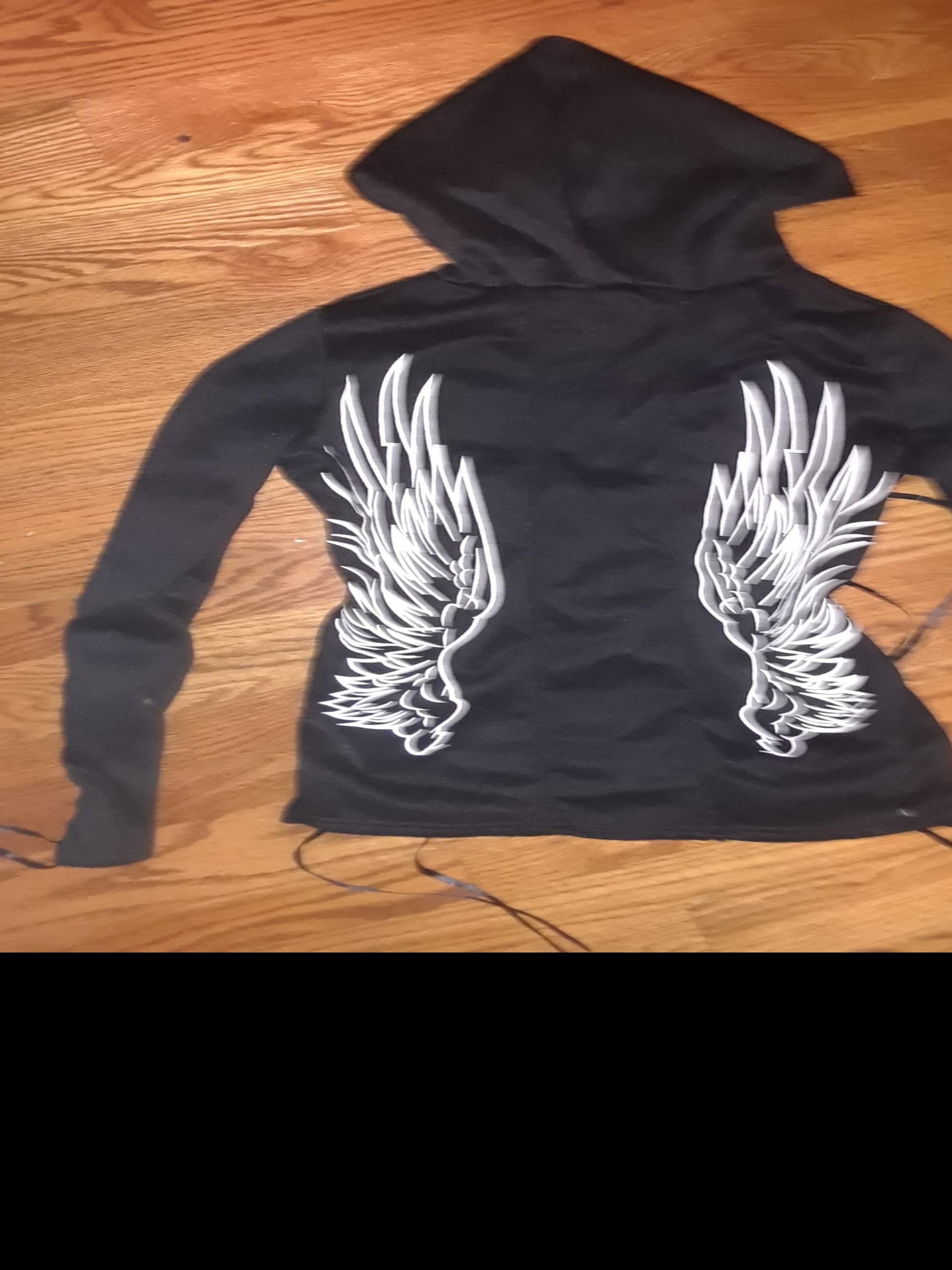 Black fleece hoodie gothic corset ribbon detail sleeves back angel wings printed Medium