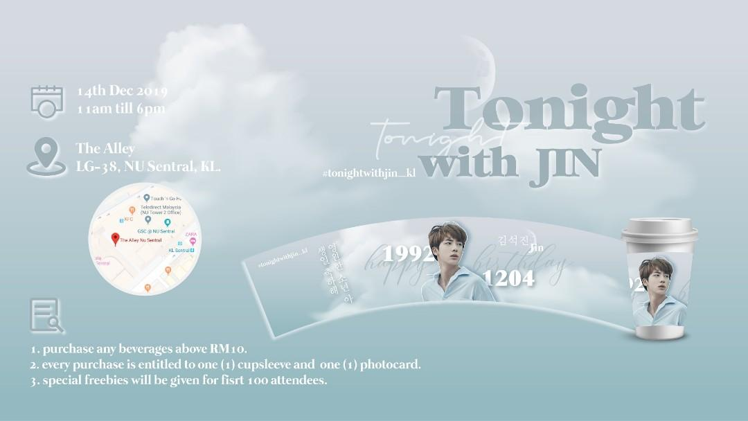 BTS Jin 'tonight with Jin' birthday event donation Fankit