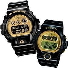 Casio DW-6900CB-1D & BG-6901-1D Couple G-Shock & Baby-G Digital Sporty Design Gold Mirror-Metallic Screen Black Band Original Watch
