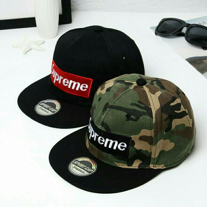 Fashion Supreme Embroidery Letter Snapback Unisex Hip Hop Cap (Black)