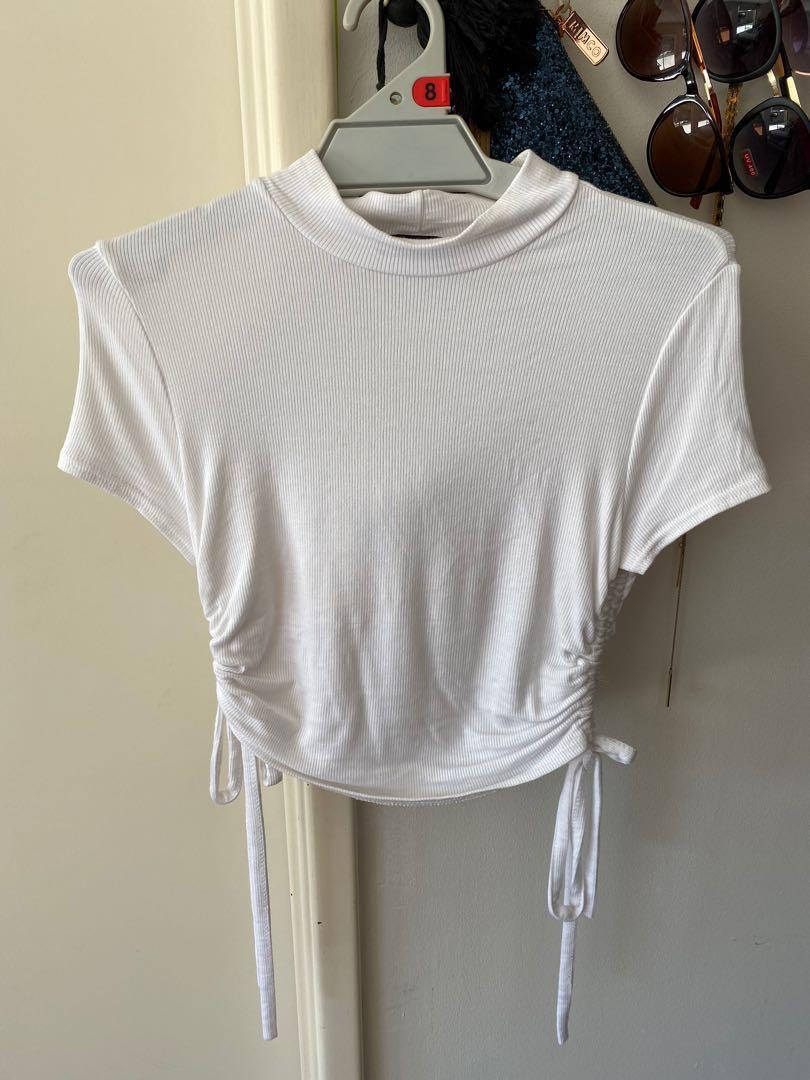 FREE POSTAGE - new never worn white tie up crop - size 8