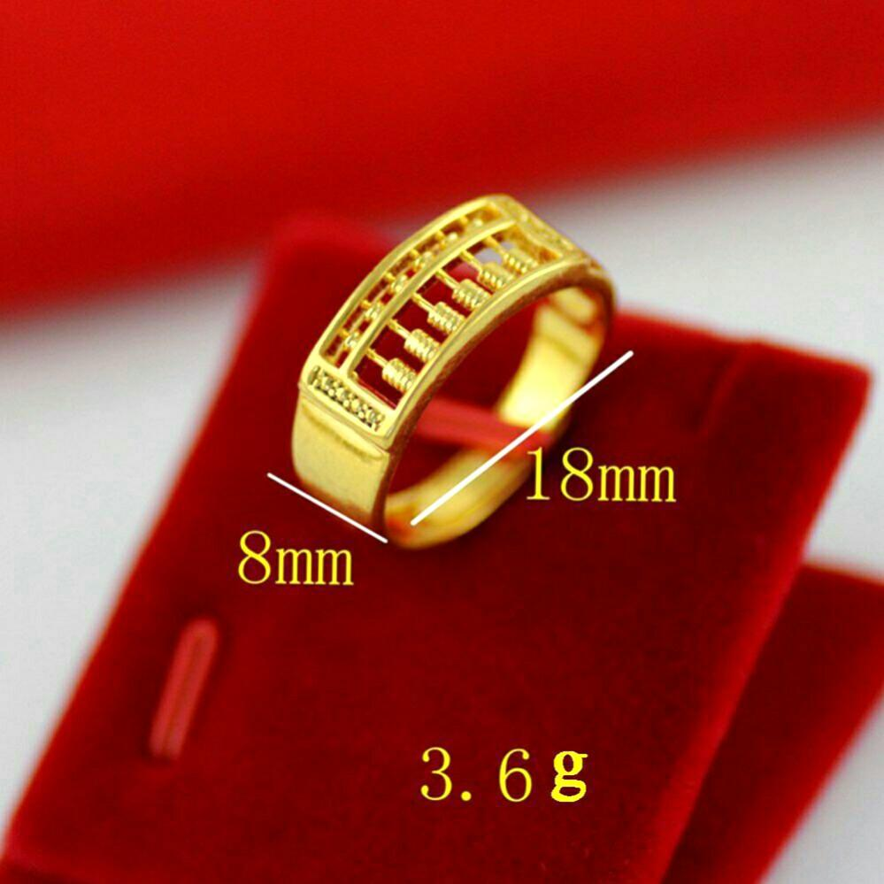 Golden Abacus For Money Good Luck High Quality Brass Gold Plated Unisex Adjustable Open Ring ⛤095
