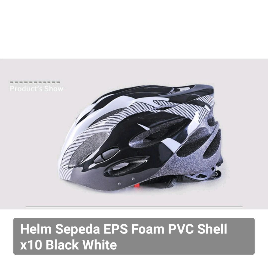 Helm Sepeda EPS Foam PVC Shell x10 Black White