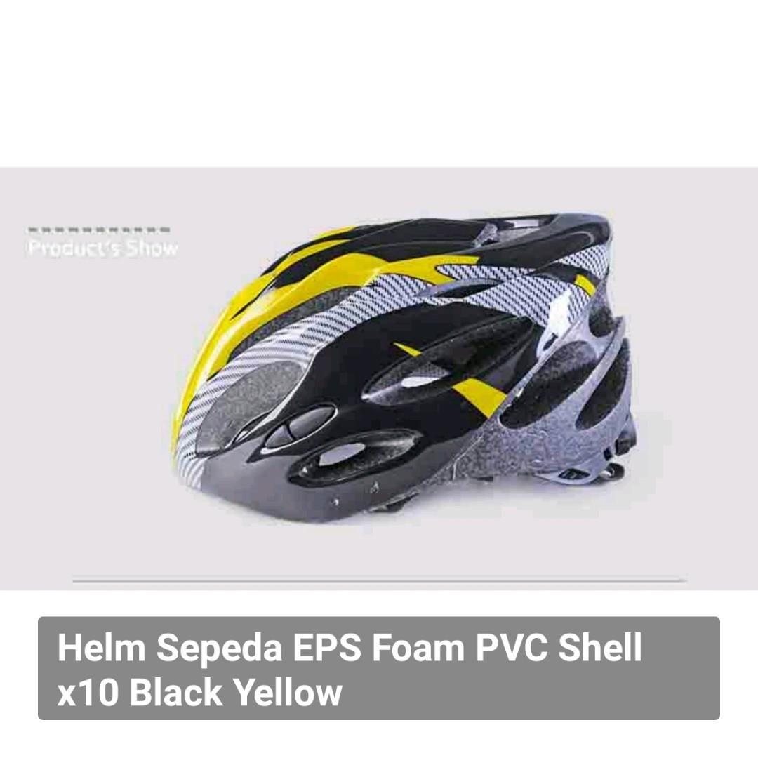 Helm Sepeda EPS Foam PVC Shell x10 Black Yellow