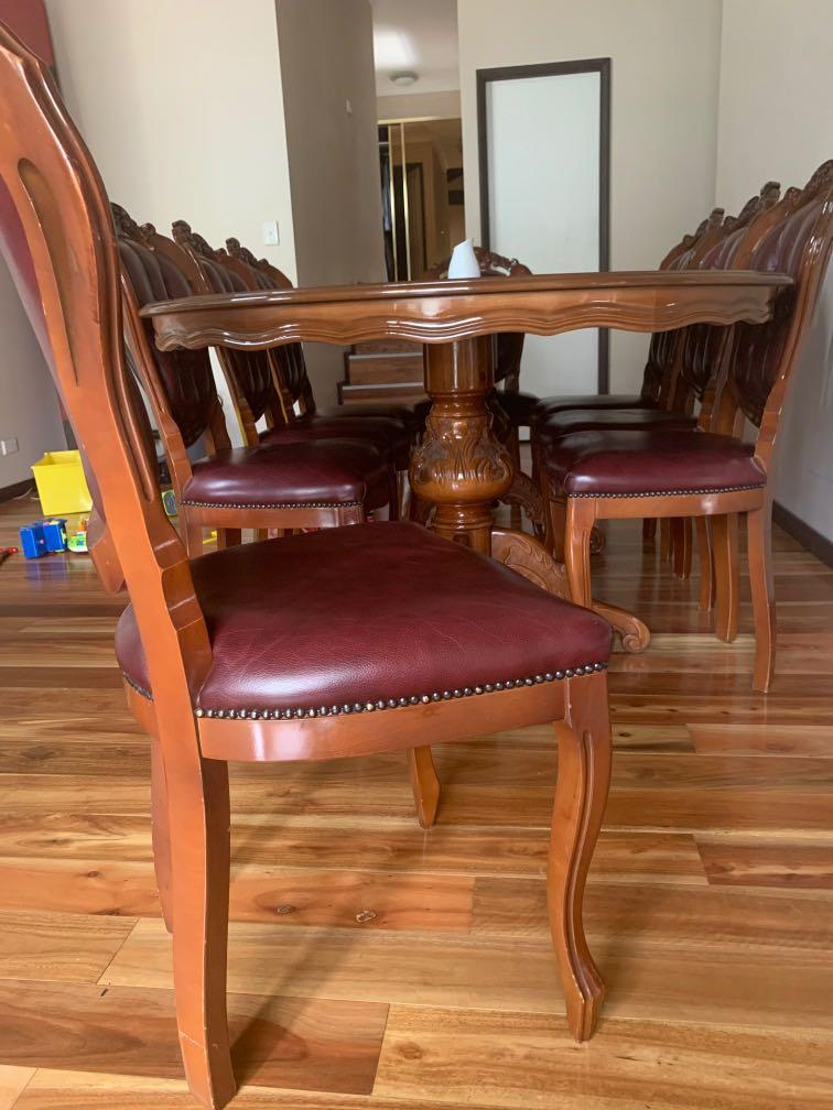 Italian timber wood antique 8 chairs dinning table