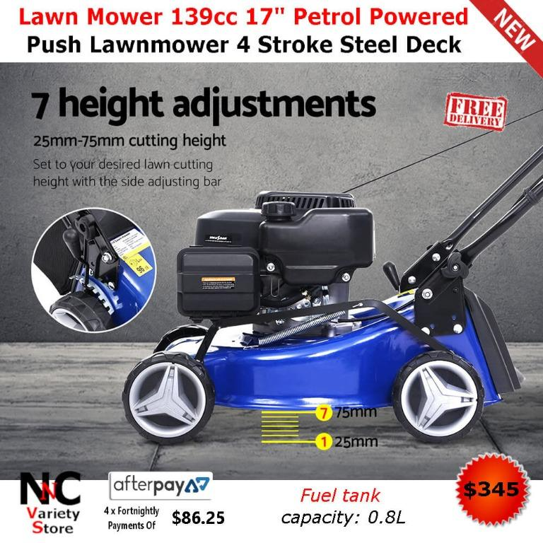 Lawn Mower 139cc 17″ Petrol Powered Push Lawnmower 4 Stroke Steel Deck