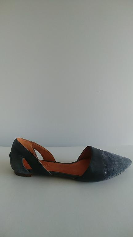 Madewell D-Orsay Navy Suede Leather Pointed Flats Size 7.5