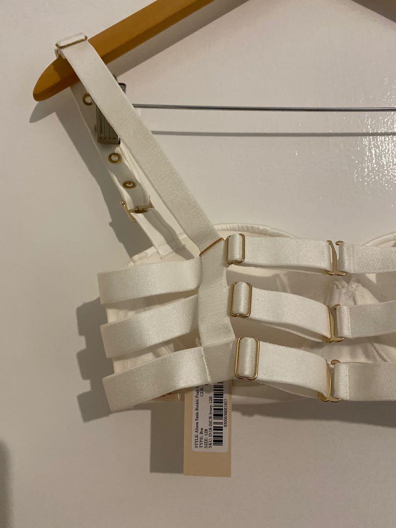 Meshki Intimates Alison Satin Buckle Push Up Bra Ivory Size 12B NEW
