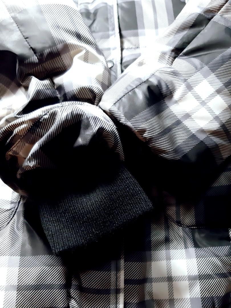 日本MK Michel Klein 格紋羽絨連帽長外套