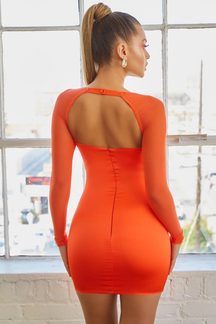 Oh Polly MESHIN WITH YOU LONG SLEEVE SATIN BODYCON MINI DRESS CORAL SIZE 10 NEW