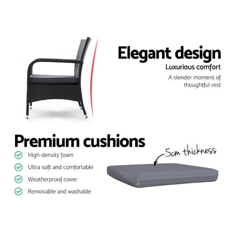 Outdoor Dining Chairs Bistro Patio Furniture Chair Wicker Garden XL x2 Gardeon