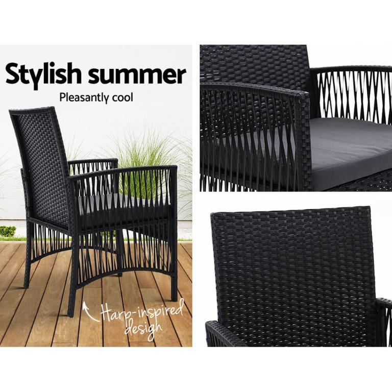 Outdoor Furniture Dining Chairs Rattan Garden Patio Cushion Black x2 Gardeon