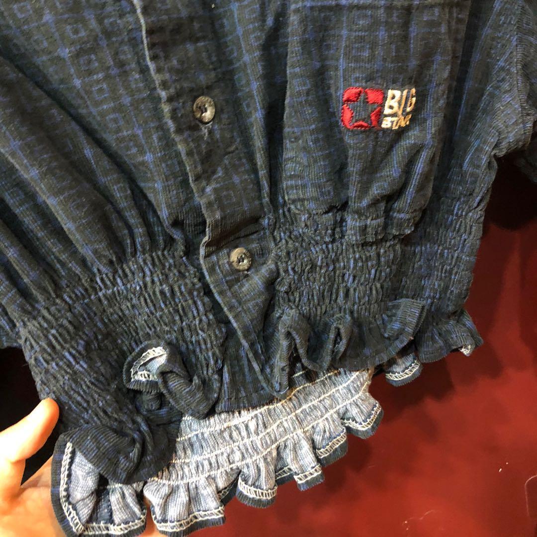 古著深藍色燈芯絨復古格紋短版remake襯衫/上衣
