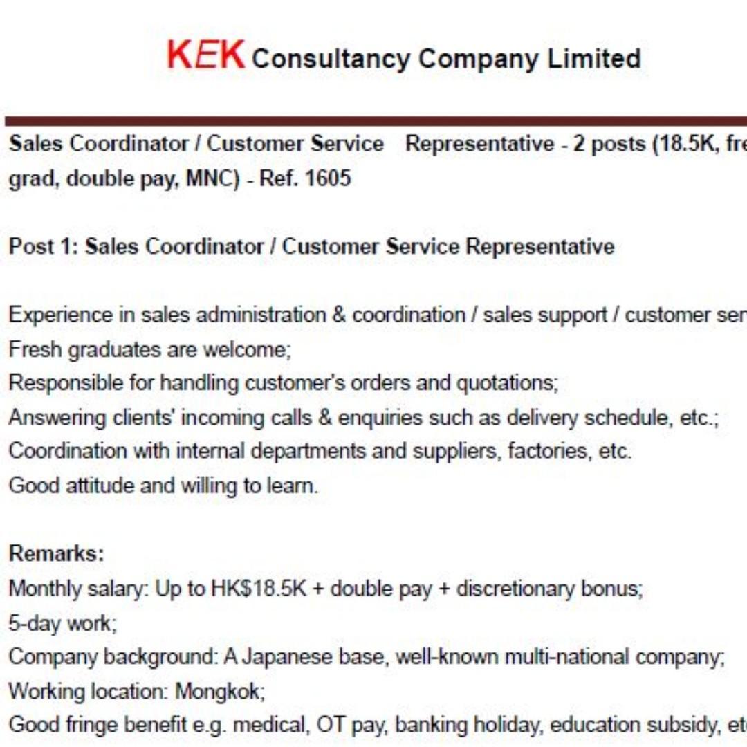 Sales Coordinator / CS Representative - Ref. 1605