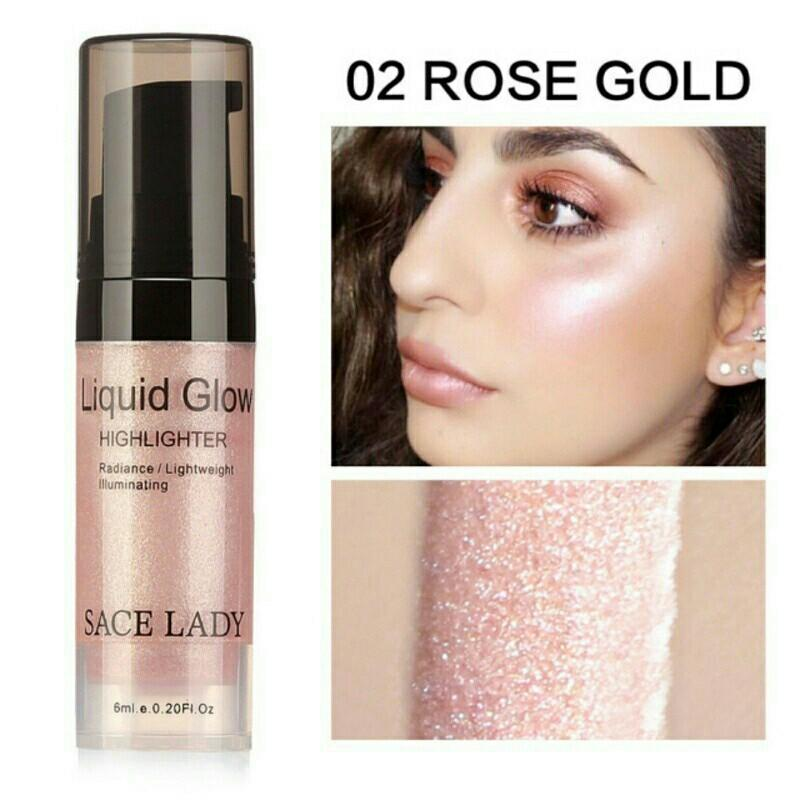 Shiny Shimmer Rose Gold Liquid Brighten Highlighter Mini Size 6ML