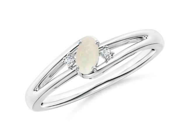 Solitaire Opal and Diamond Split Shank Womens Ring