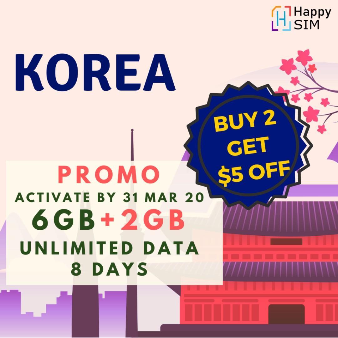 South Korea 8 Days Voice & Data SIM Unlimited Data 🇰🇷