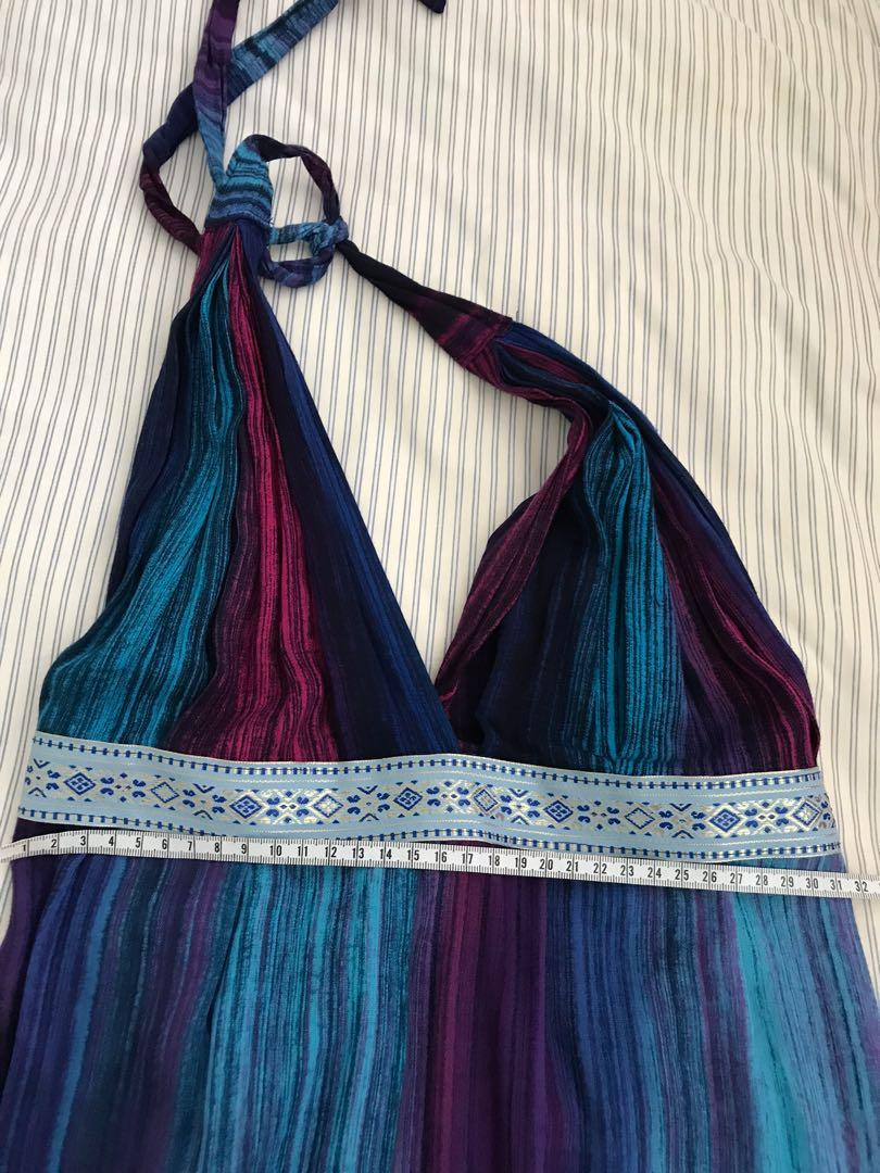 Summer halter neck blue summer beachwear casual dress
