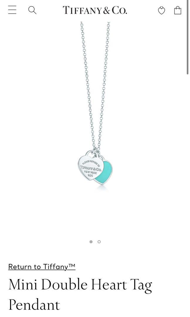 Authentic Tiffany and Co Double Heart Pendant Necklace