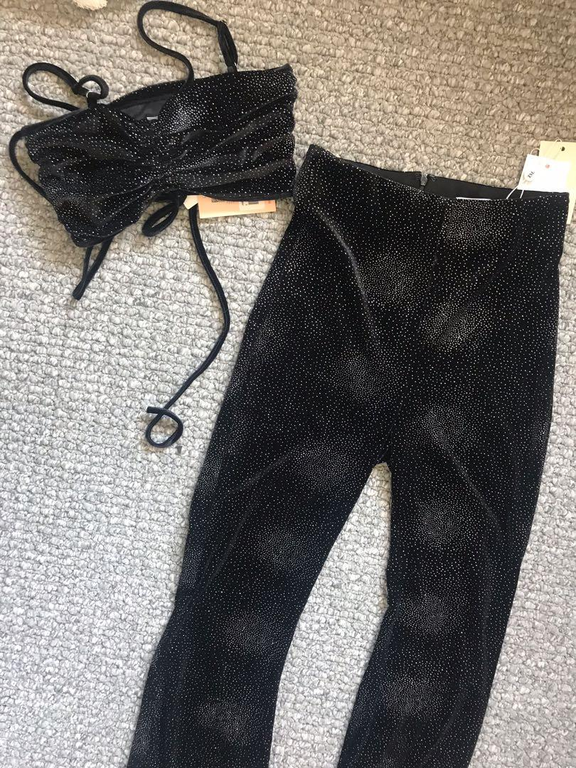 Tiger mist jasper flares and crop set new with tags