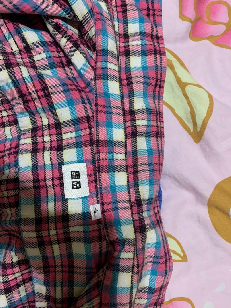 Uniqlo粉紅格紋襯衫