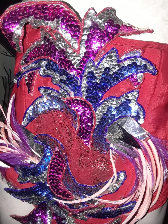 Vintage hand sewn burlesque costume underbust bodice corset medium unique beaded sequins feathers roses OOAK