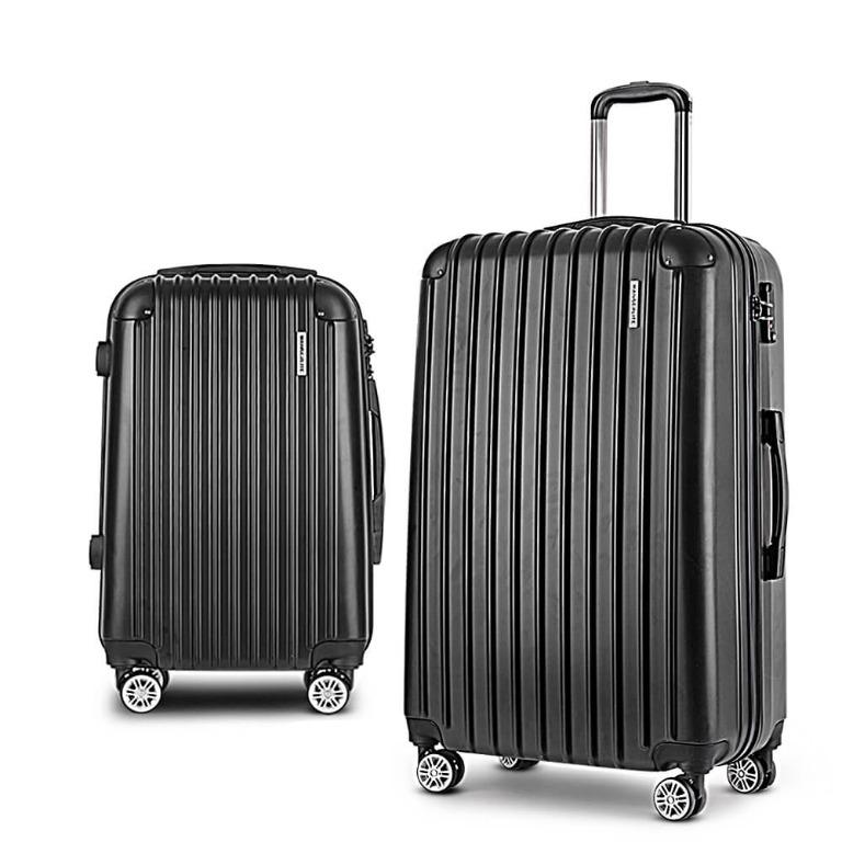 Wanderlite 2PCS Carry On Luggage Sets Suitcase Travel Hard Case Lightweight Black