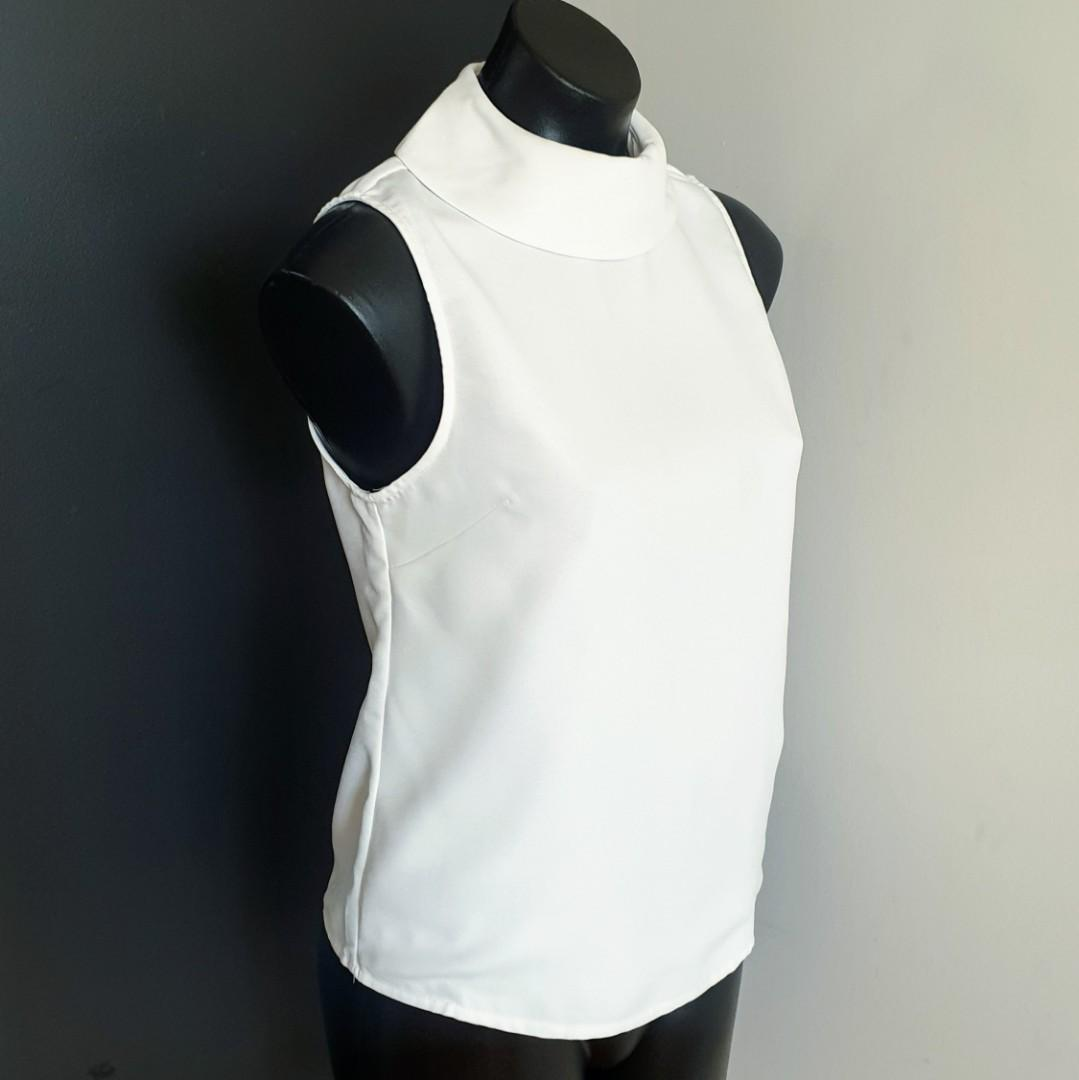 Women's size 8 'ARIS' Stunning white high neck collar sleeveless top blouse - AS NEW