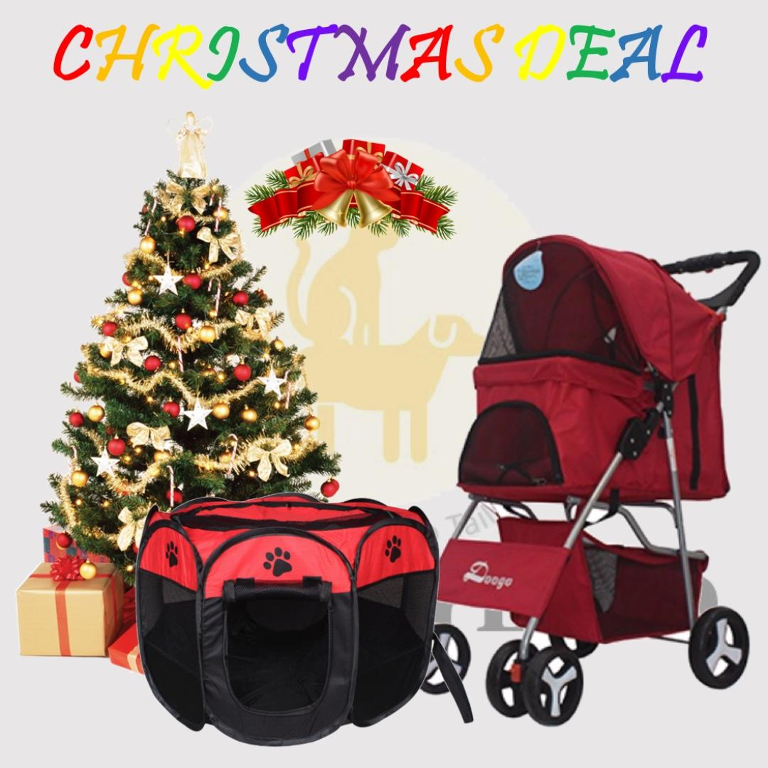 [XMAS FREE DELIVERY COMBO]4 Wheel Stroller(Red) with Foldable Play Tent(S)(Red)