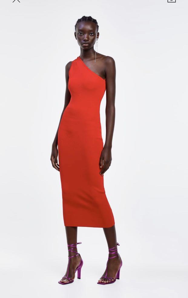 Zara red asymmetrical one shoulder dress, size S, $60