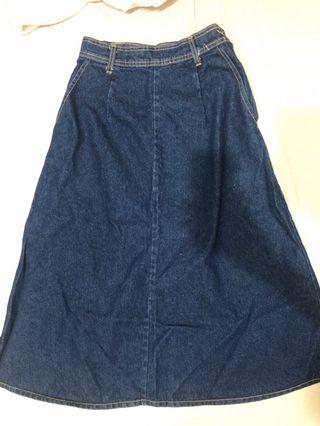 Dogoose早期高腰重磅深藍牛仔長裙 s